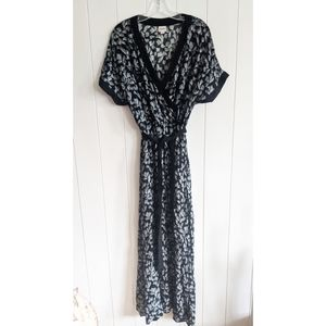 Kimono style wrap maxi dress Merona sz L floral